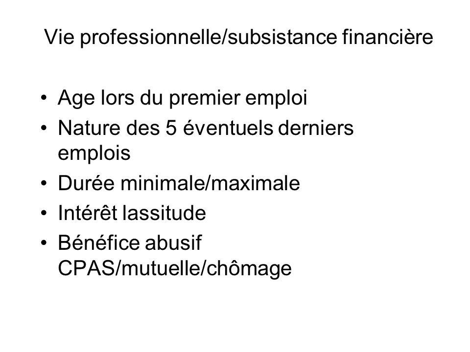 Vie professionnelle/subsistance financière Age lors du premier emploi Nature des 5 éventuels derniers emplois Durée minimale/maximale Intérêt lassitude Bénéfice abusif CPAS/mutuelle/chômage