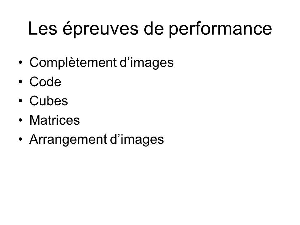 Les épreuves de performance Complètement dimages Code Cubes Matrices Arrangement dimages