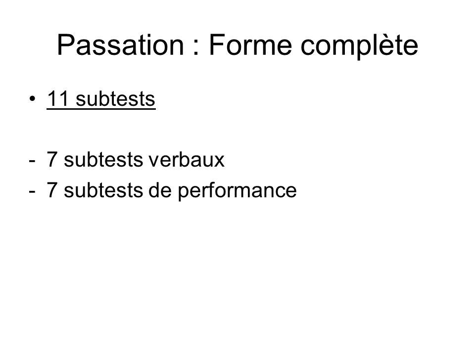 Passation : Forme complète 11 subtests -7 subtests verbaux -7 subtests de performance