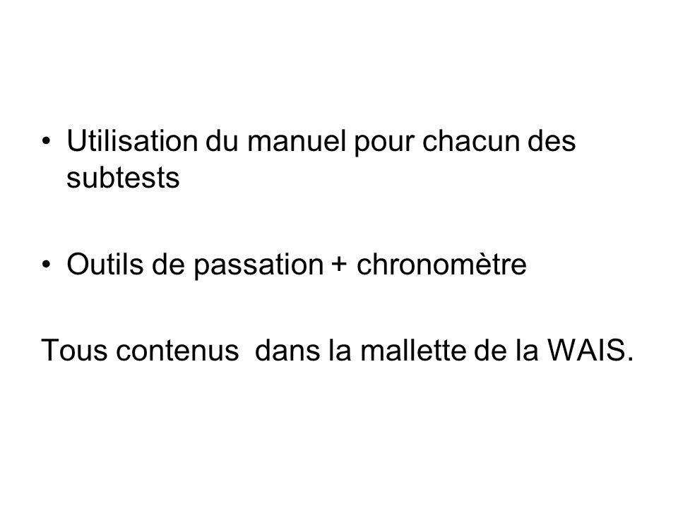 Utilisation du manuel pour chacun des subtests Outils de passation + chronomètre Tous contenus dans la mallette de la WAIS.