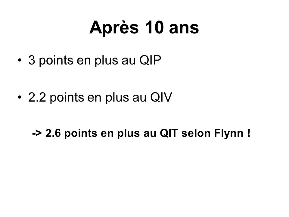 Après 10 ans 3 points en plus au QIP 2.2 points en plus au QIV -> 2.6 points en plus au QIT selon Flynn !