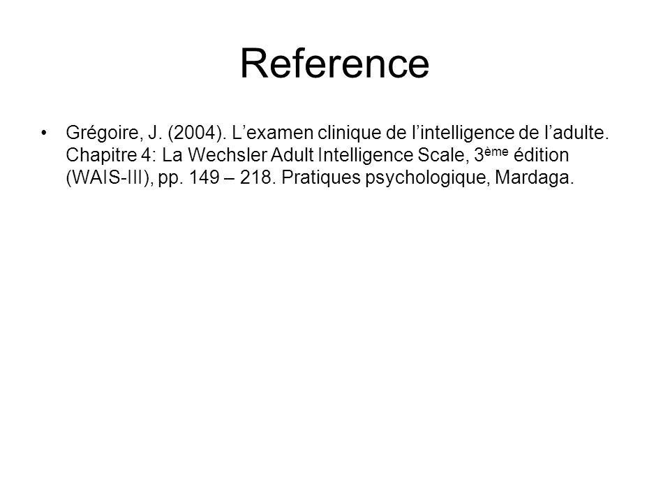 Reference Grégoire, J.(2004). Lexamen clinique de lintelligence de ladulte.