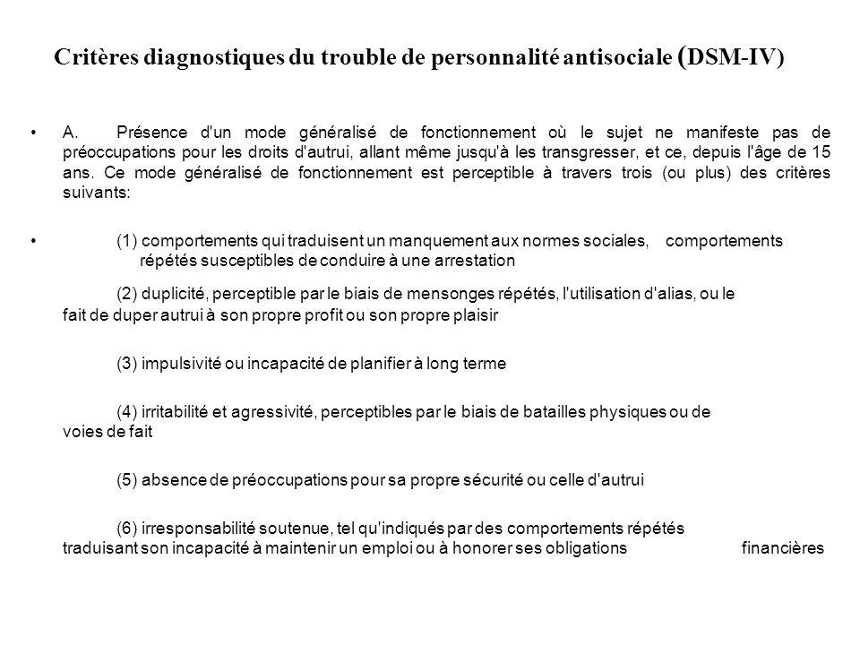Critères diagnostiques du trouble de personnalité antisociale ( DSM-IV) A.Présence d un mode généralisé de fonctionnement où le sujet ne manifeste pas de préoccupations pour les droits d autrui, allant même jusqu à les transgresser, et ce, depuis l âge de 15 ans.