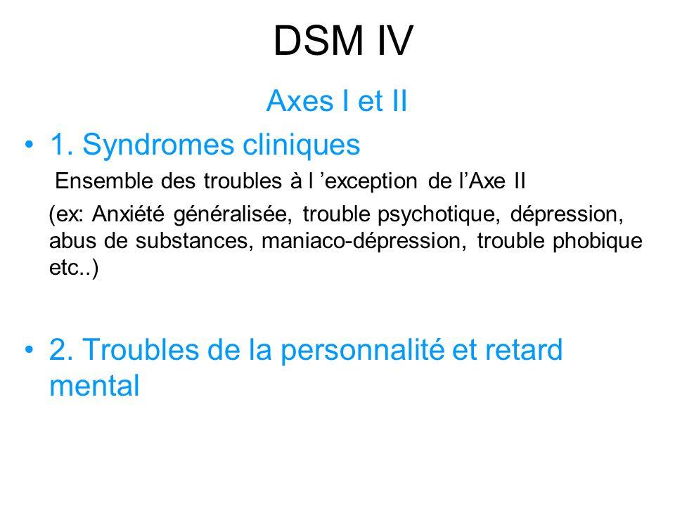 DSM IV Axes I et II 1.