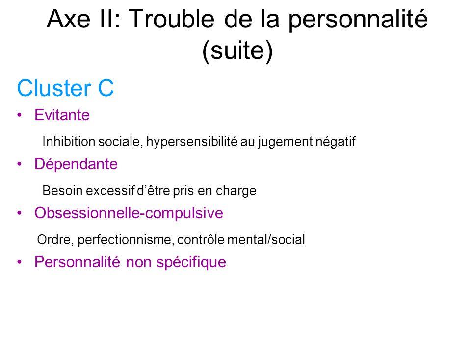 Axe II: Trouble de la personnalité (suite) Cluster C Evitante Inhibition sociale, hypersensibilité au jugement négatif Dépendante Besoin excessif dêtre pris en charge Obsessionnelle-compulsive Ordre, perfectionnisme, contrôle mental/social Personnalité non spécifique