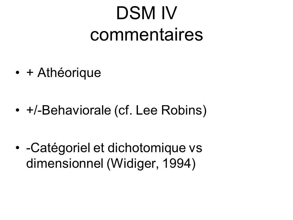 DSM IV commentaires + Athéorique +/-Behaviorale (cf.