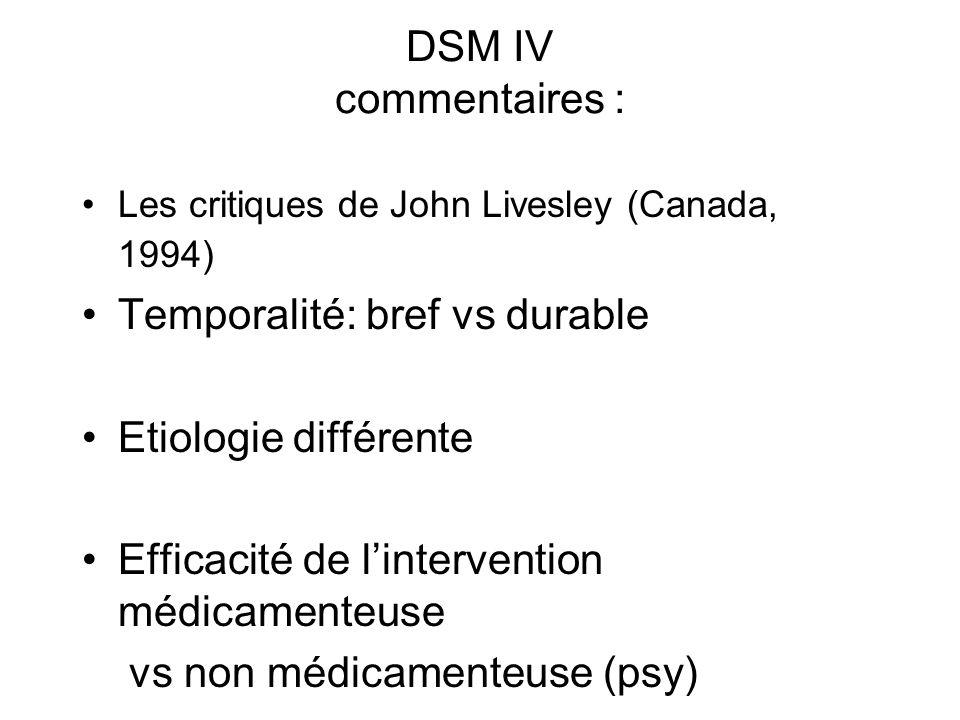 DSM IV commentaires : Les critiques de John Livesley (Canada, 1994) Temporalité: bref vs durable Etiologie différente Efficacité de lintervention médicamenteuse vs non médicamenteuse (psy)