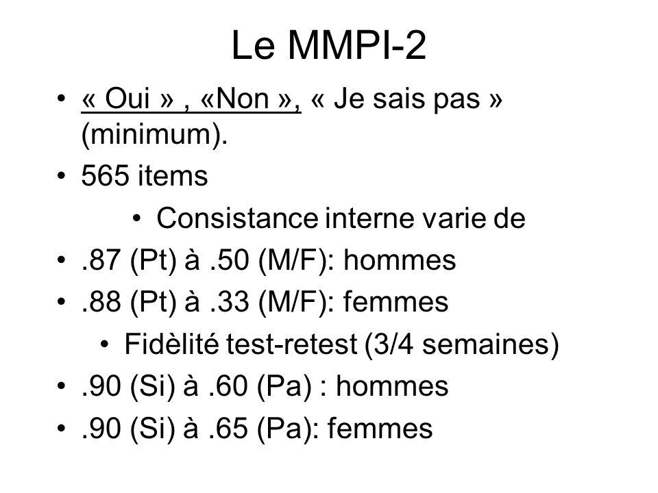 Le MMPI-2 « Oui », «Non », « Je sais pas » (minimum).