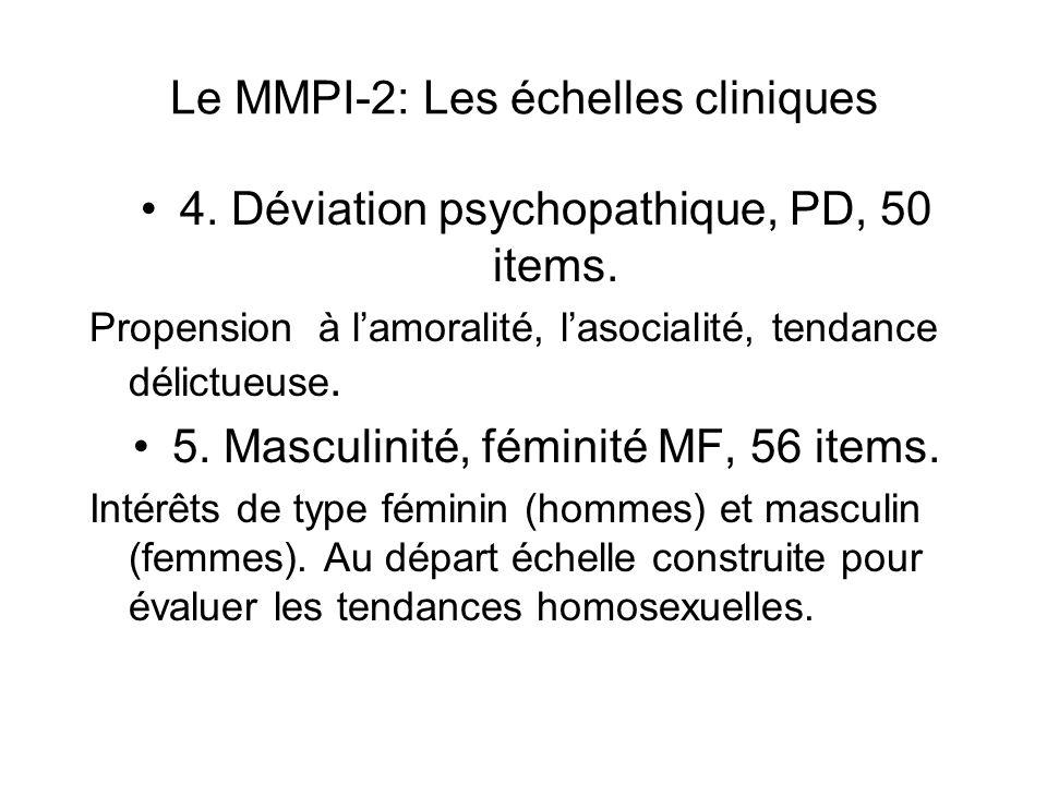 Le MMPI-2: Les échelles cliniques 4.Déviation psychopathique, PD, 50 items.