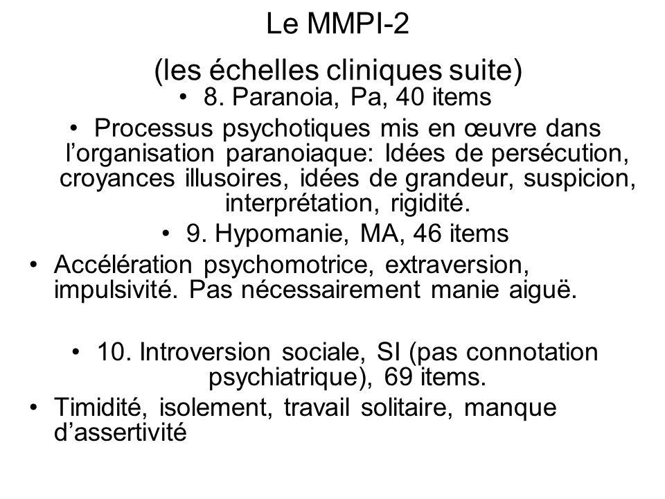 Le MMPI-2 (les échelles cliniques suite) 8.
