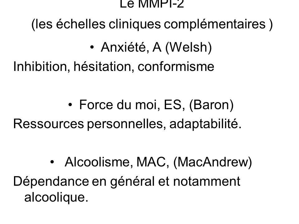 Le MMPI-2 (les échelles cliniques complémentaires ) Anxiété, A (Welsh) Inhibition, hésitation, conformisme Force du moi, ES, (Baron) Ressources personnelles, adaptabilité.