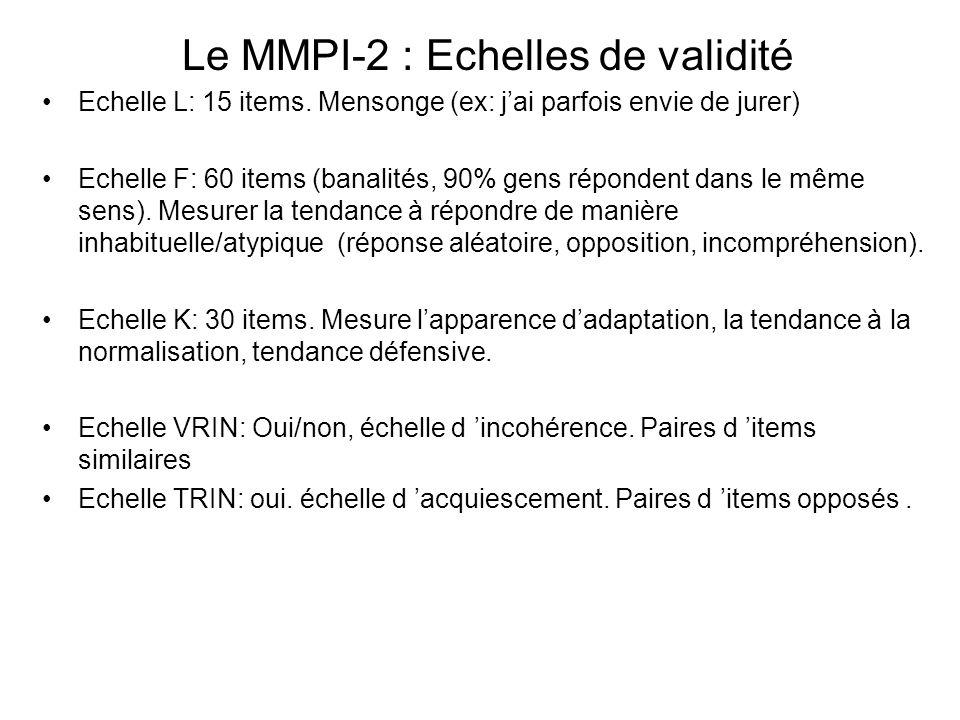 Le MMPI-2 : Echelles de validité Echelle L: 15 items.