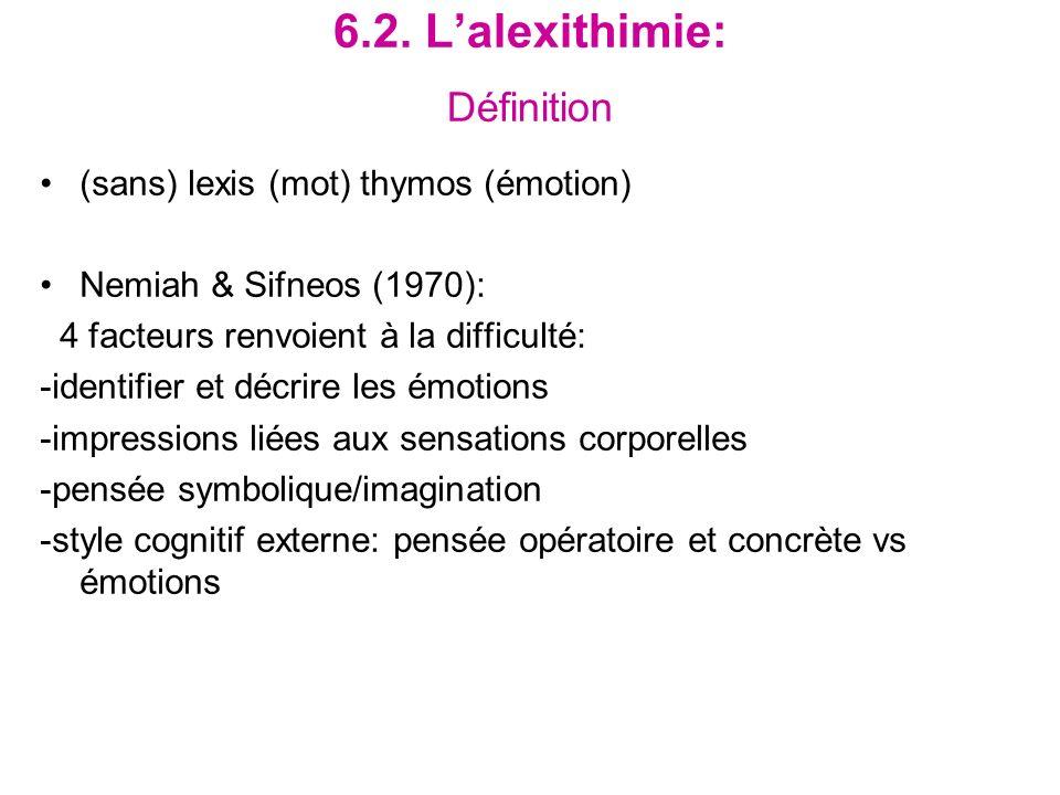 6.2. Lalexithimie: Définition (sans) lexis (mot) thymos (émotion) Nemiah & Sifneos (1970): 4 facteurs renvoient à la difficulté: -identifier et décrir