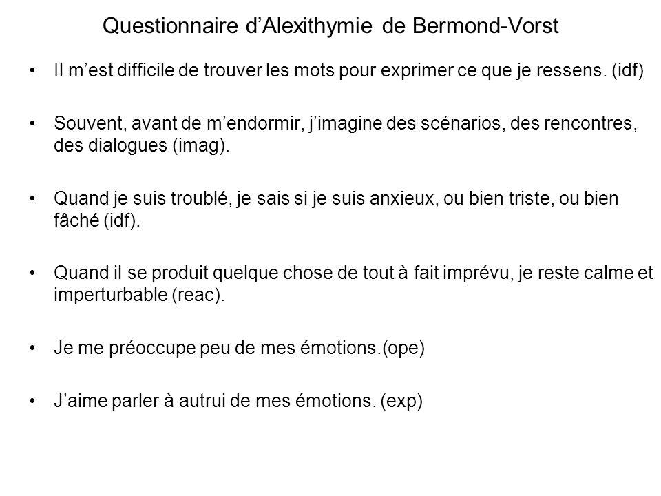 Questionnaire dAlexithymie de Bermond-Vorst Il mest difficile de trouver les mots pour exprimer ce que je ressens.