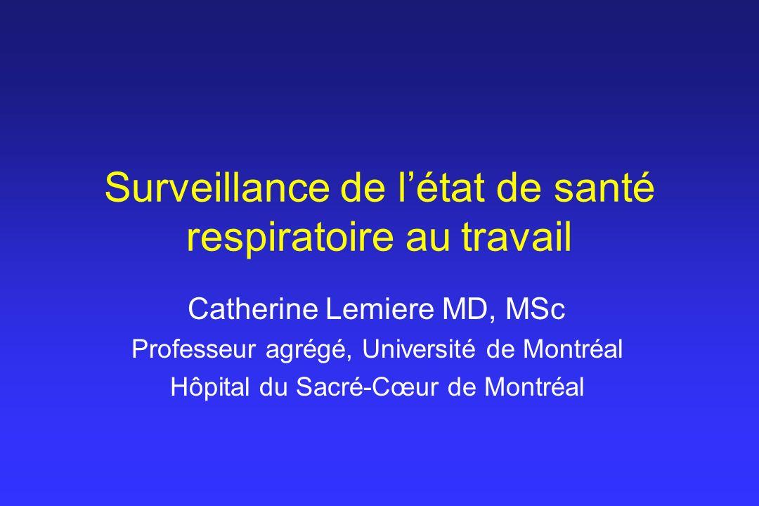 Surveillance de létat de santé respiratoire au travail Catherine Lemiere MD, MSc Professeur agrégé, Université de Montréal Hôpital du Sacré-Cœur de Mo