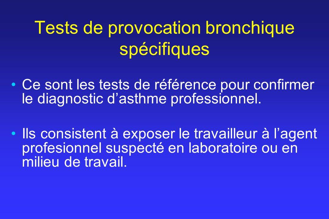 Tests de provocation bronchique spécifiques Ce sont les tests de référence pour confirmer le diagnostic dasthme professionnel. Ils consistent à expose