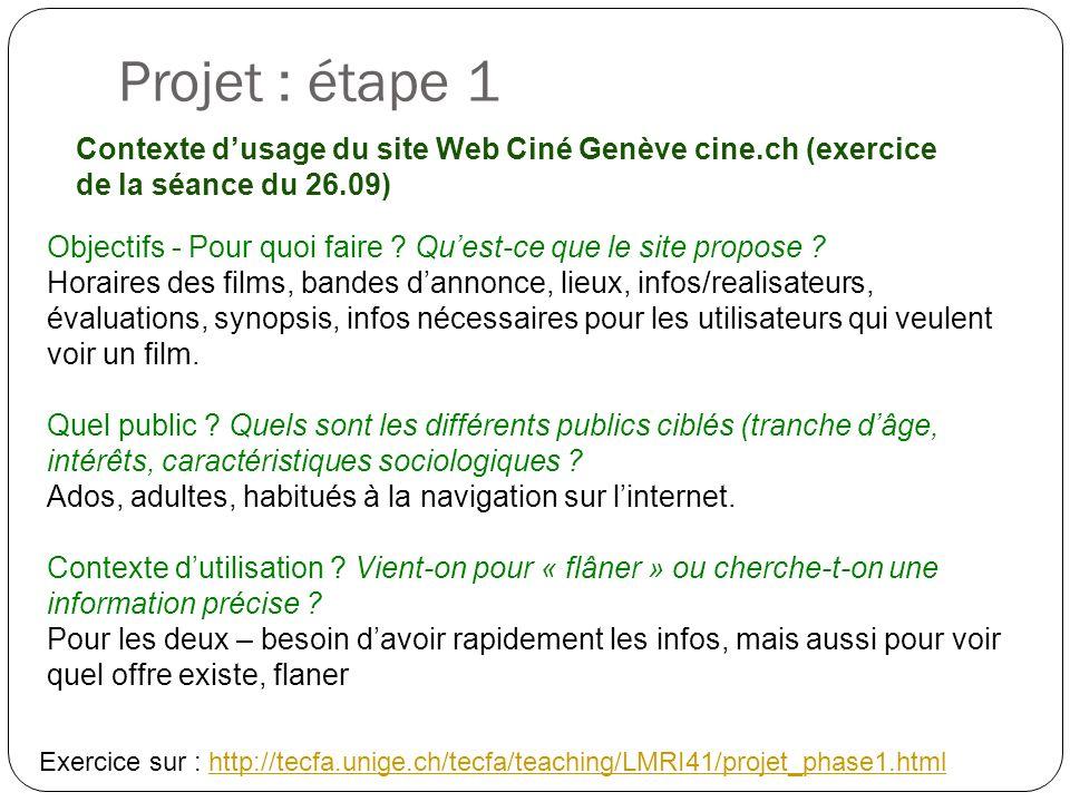 Projet : étape 1 Contexte dusage du site Web Ciné Genève cine.ch (exercice de la séance du 26.09) Objectifs - Pour quoi faire ? Quest-ce que le site p