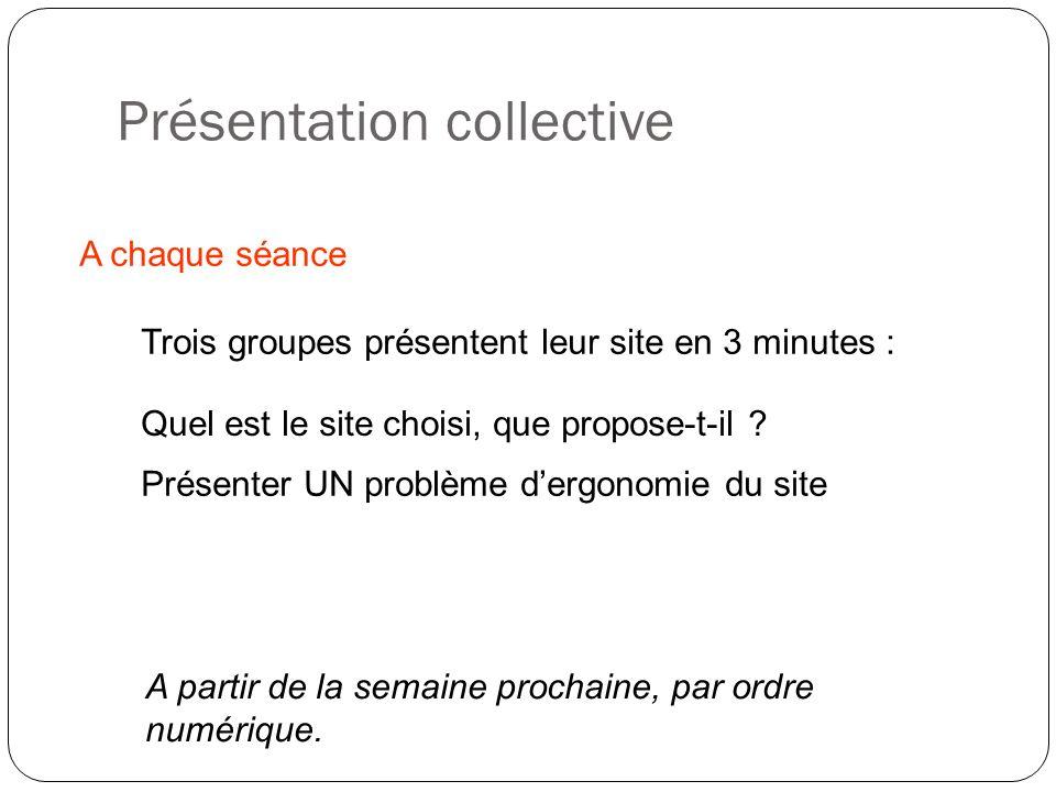 Présentation collective A chaque séance Trois groupes présentent leur site en 3 minutes : A partir de la semaine prochaine, par ordre numérique. Prése