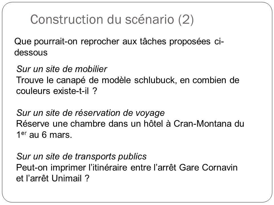 Construction du scénario (2) Que pourrait-on reprocher aux tâches proposées ci- dessous Sur un site de mobilier Trouve le canapé de modèle schlubuck,