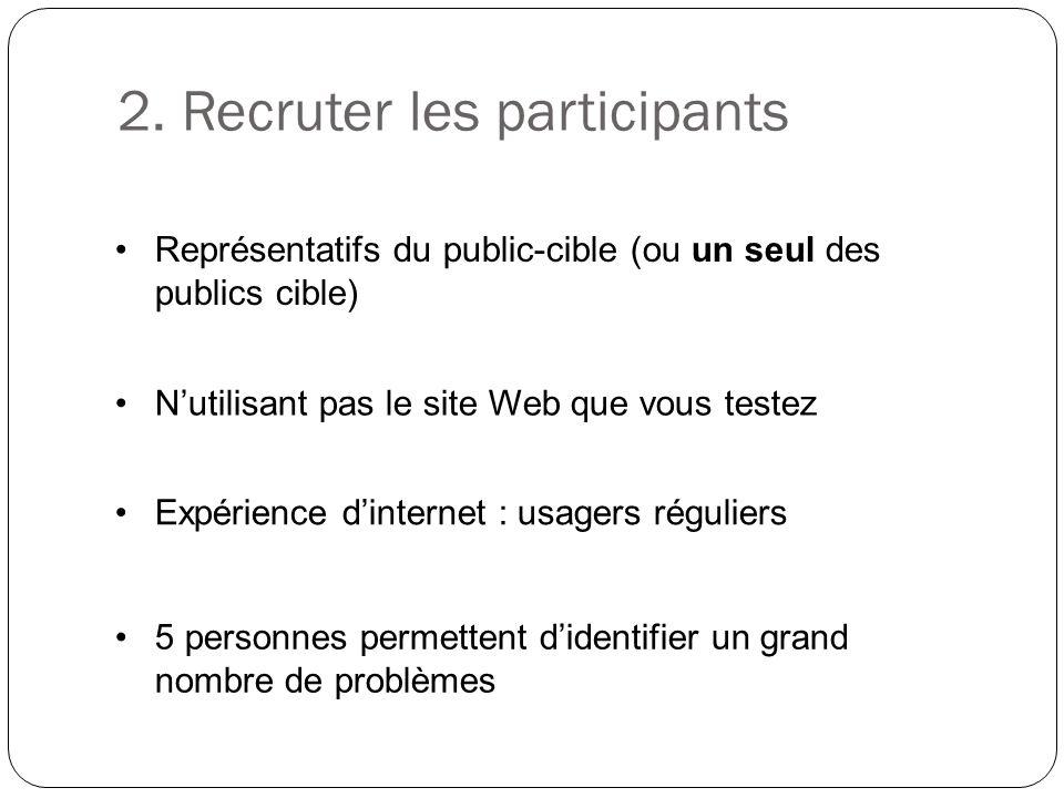 Représentatifs du public-cible (ou un seul des publics cible) Nutilisant pas le site Web que vous testez 5 personnes permettent didentifier un grand n