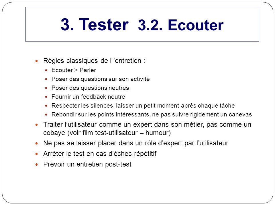 Règles classiques de l entretien : Ecouter > Parler Poser des questions sur son activité Poser des questions neutres Fournir un feedback neutre Respec