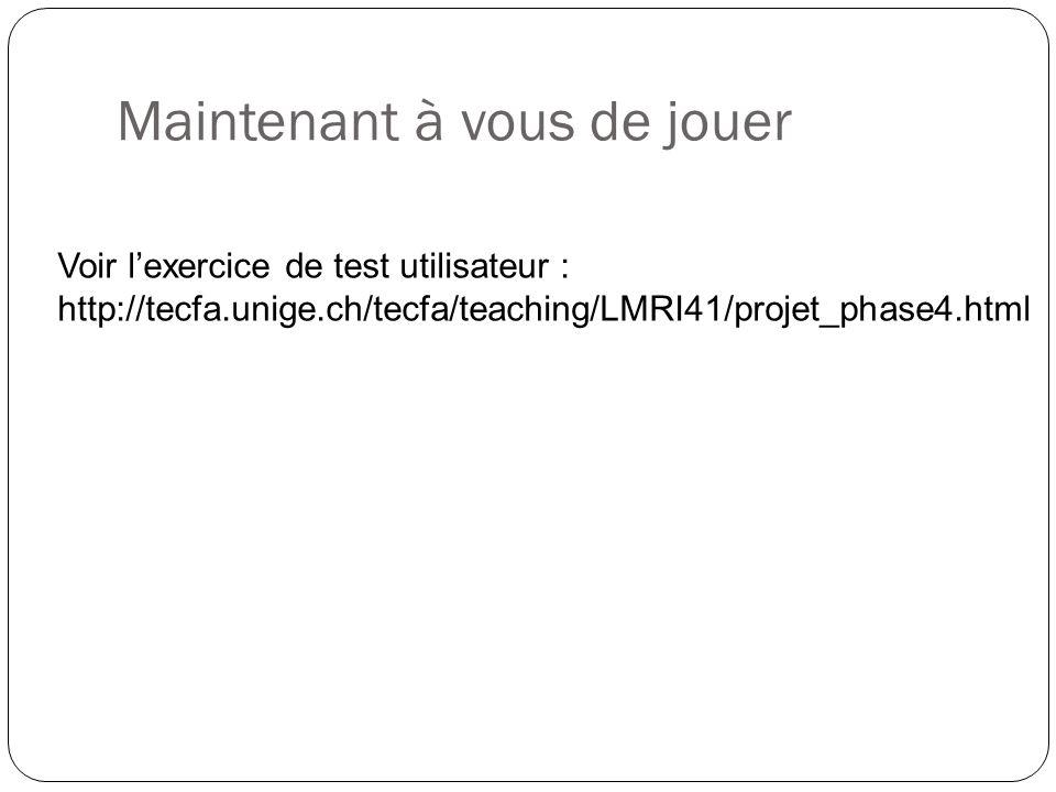 Maintenant à vous de jouer Voir lexercice de test utilisateur : http://tecfa.unige.ch/tecfa/teaching/LMRI41/projet_phase4.html