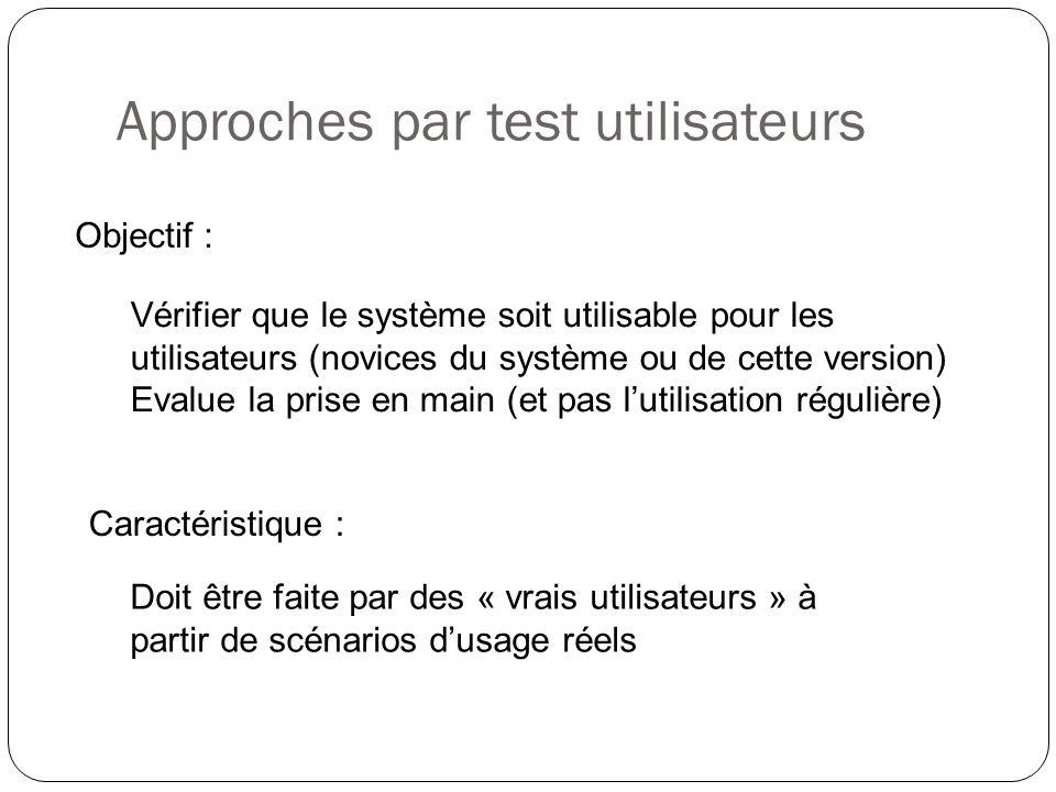 Approches par test utilisateurs Vérifier que le système soit utilisable pour les utilisateurs (novices du système ou de cette version) Evalue la prise