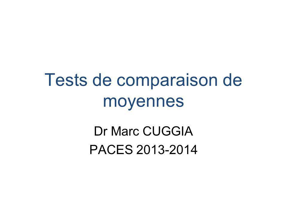 Tests de comparaison de moyennes Dr Marc CUGGIA PACES 2013-2014