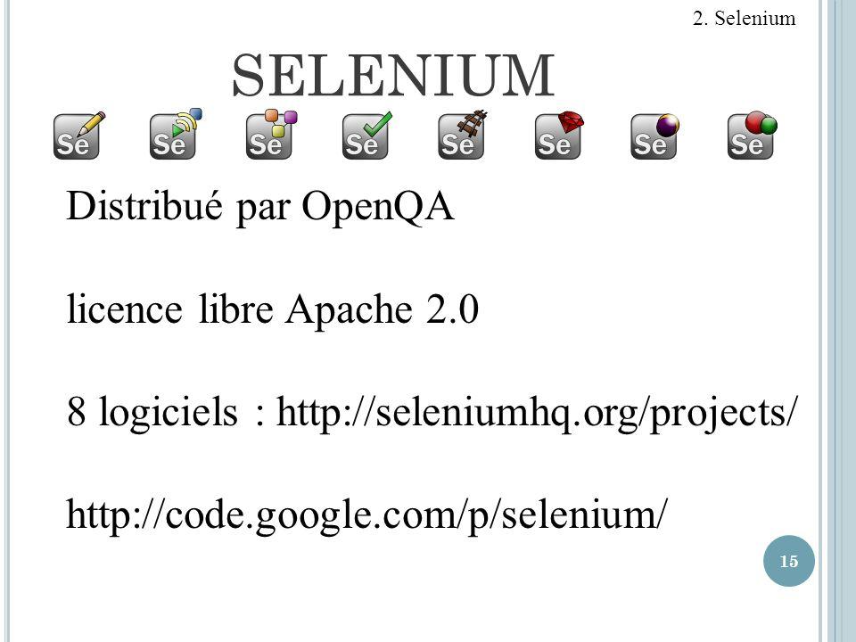 SELENIUM 15 Distribué par OpenQA licence libre Apache 2.0 8 logiciels : http://seleniumhq.org/projects/ http://code.google.com/p/selenium/ 2. Selenium
