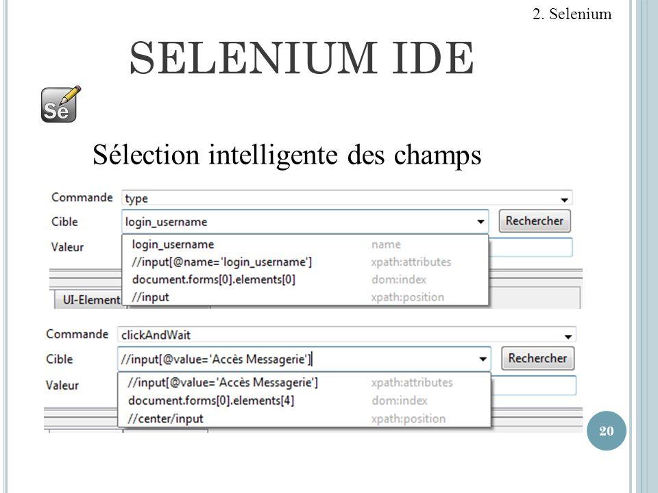 SELENIUM IDE 20 Sélection intelligente des champs 2. Selenium
