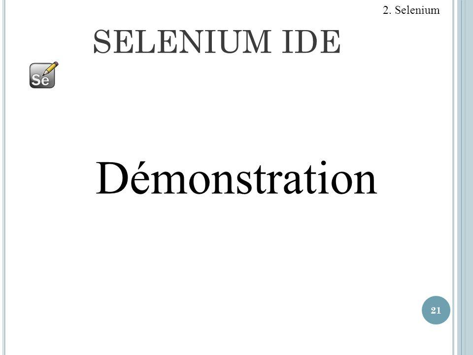 SELENIUM IDE 21 Démonstration 2. Selenium