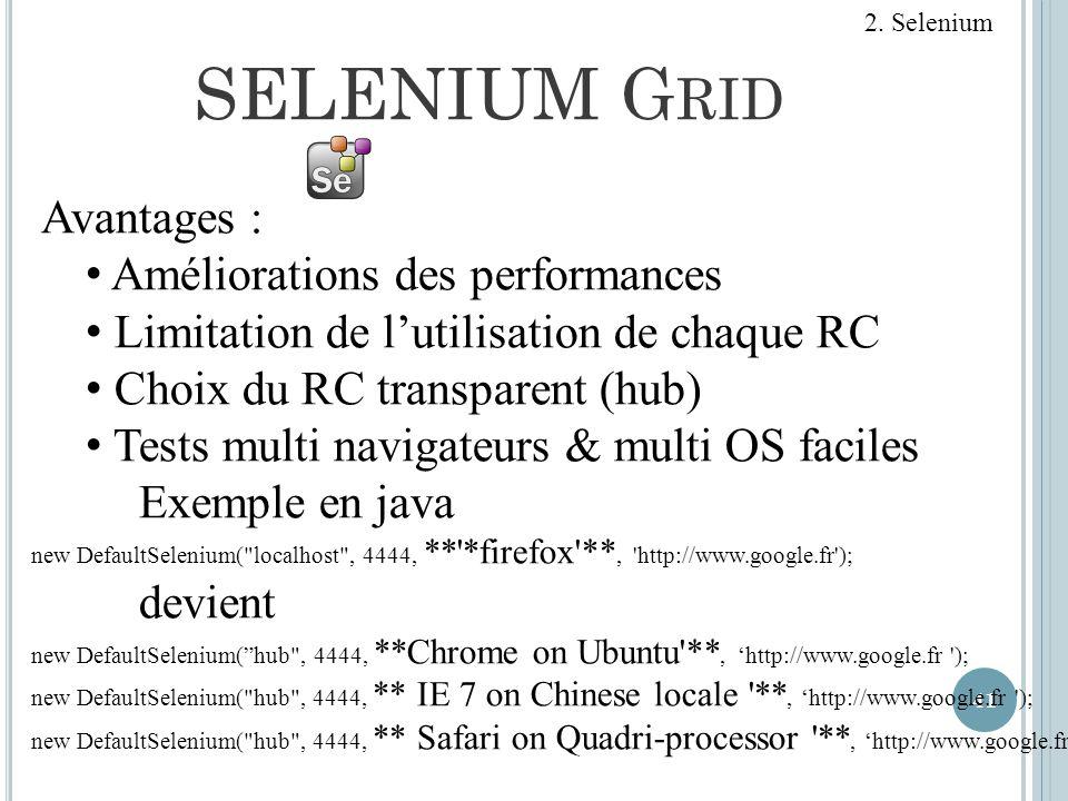 SELENIUM G RID 41 2. Selenium Avantages : Améliorations des performances Limitation de lutilisation de chaque RC Choix du RC transparent (hub) Tests m
