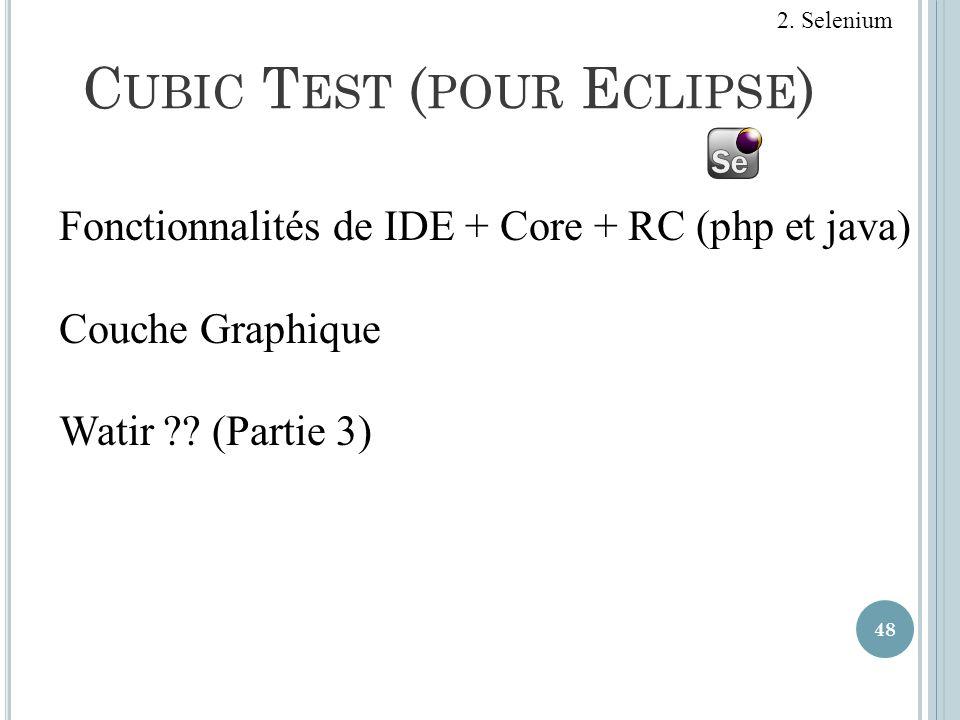 C UBIC T EST ( POUR E CLIPSE ) 48 2. Selenium Fonctionnalités de IDE + Core + RC (php et java) Couche Graphique Watir ?? (Partie 3)