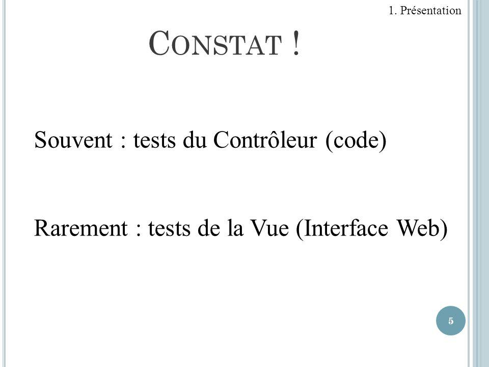 5 Souvent : tests du Contrôleur (code) Rarement : tests de la Vue (Interface Web) C ONSTAT ! 1. Présentation