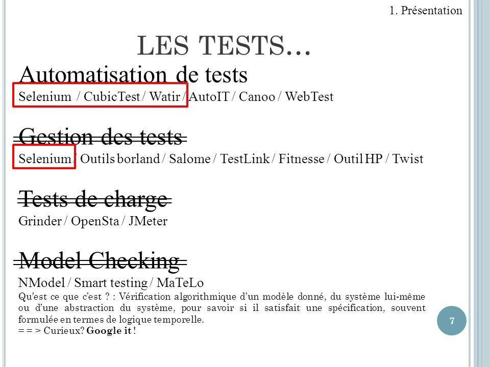 7 Automatisation de tests Selenium / CubicTest / Watir / AutoIT / Canoo / WebTest Gestion des tests Selenium / Outils borland / Salome / TestLink / Fi
