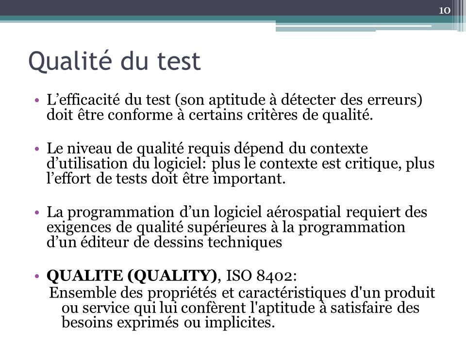 Qualité du test Lefficacité du test (son aptitude à détecter des erreurs) doit être conforme à certains critères de qualité.