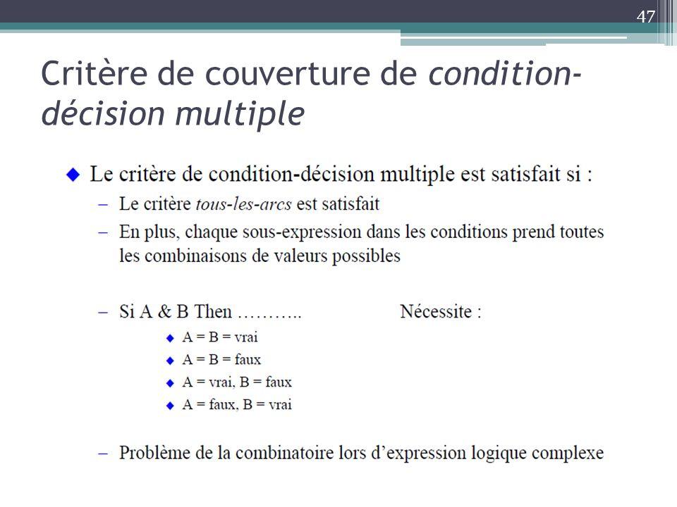 Critère de couverture de condition- décision multiple 47