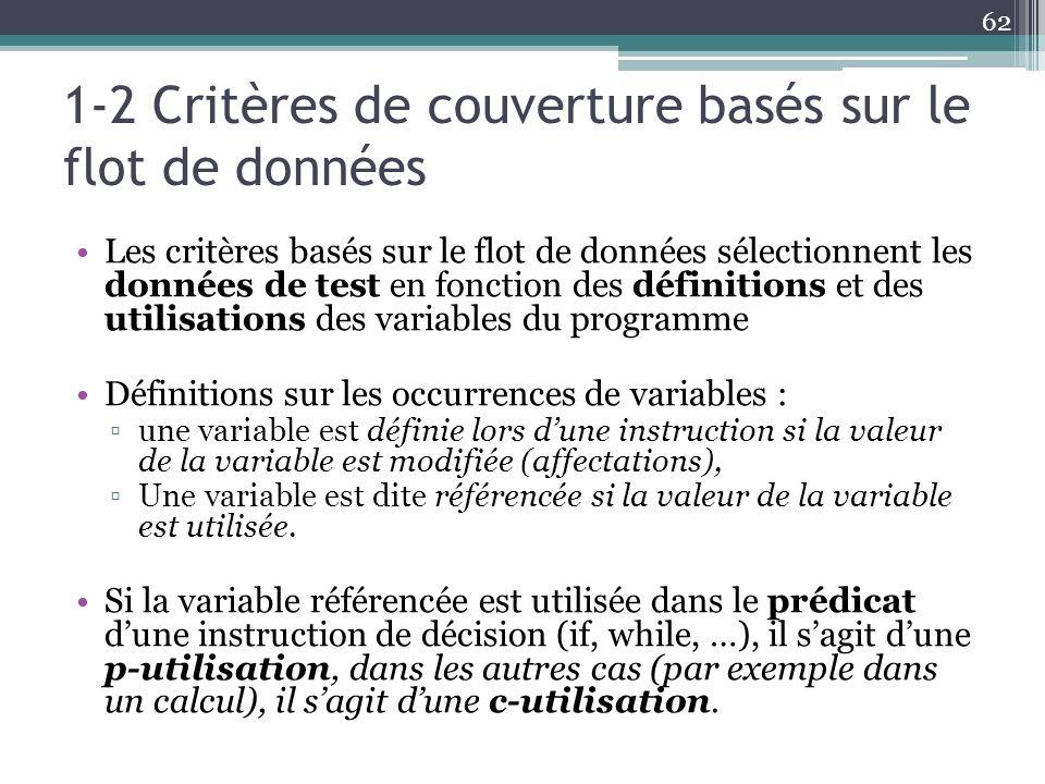 1-2 Critères de couverture basés sur le flot de données Les critères basés sur le flot de données sélectionnent les données de test en fonction des définitions et des utilisations des variables du programme Définitions sur les occurrences de variables : une variable est définie lors dune instruction si la valeur de la variable est modifiée (affectations), Une variable est dite référencée si la valeur de la variable est utilisée.
