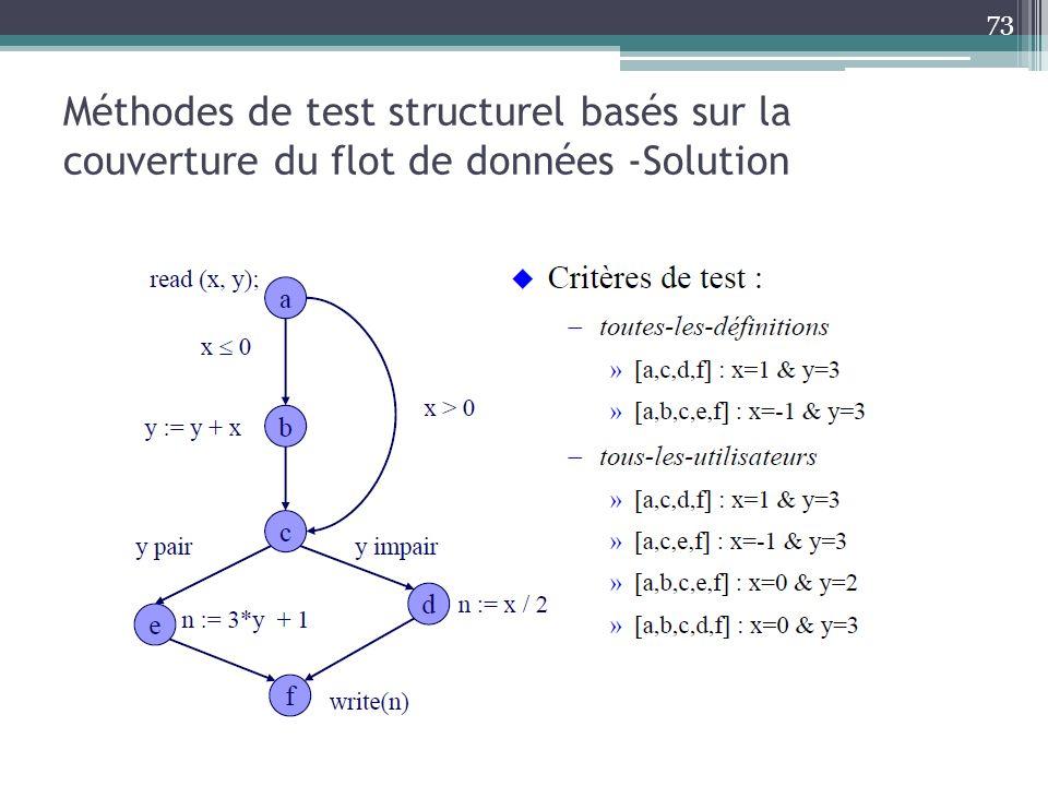 Méthodes de test structurel basés sur la couverture du flot de données -Solution 73