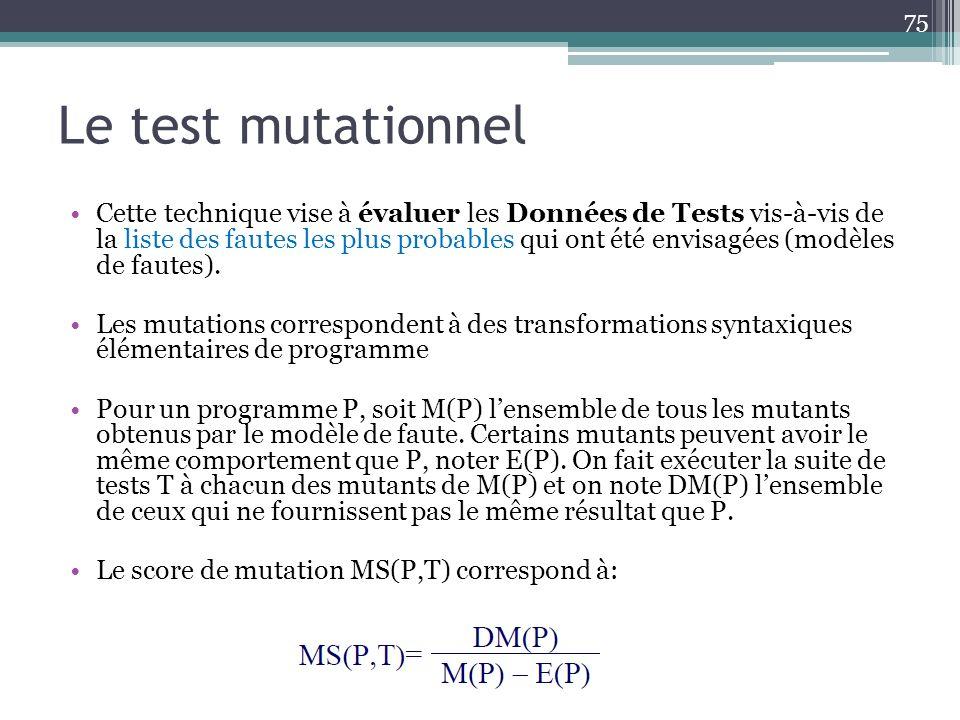 Le test mutationnel Cette technique vise à évaluer les Données de Tests vis-à-vis de la liste des fautes les plus probables qui ont été envisagées (modèles de fautes).