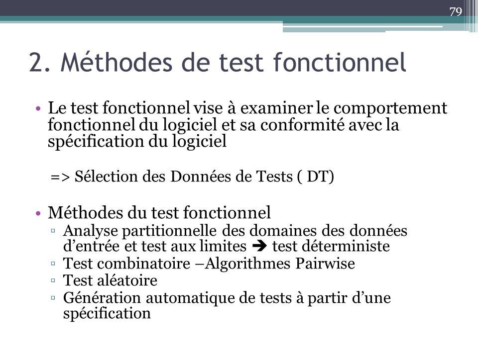 2. Méthodes de test fonctionnel Le test fonctionnel vise à examiner le comportement fonctionnel du logiciel et sa conformité avec la spécification du