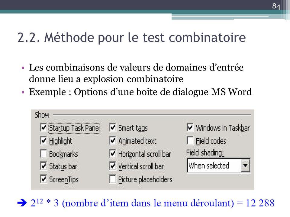 2.2. Méthode pour le test combinatoire Les combinaisons de valeurs de domaines dentrée donne lieu a explosion combinatoire Exemple : Options dune boit