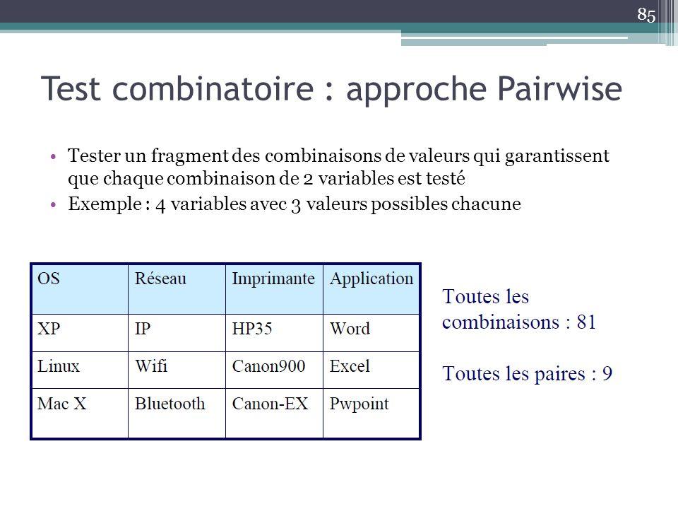Test combinatoire : approche Pairwise Tester un fragment des combinaisons de valeurs qui garantissent que chaque combinaison de 2 variables est testé Exemple : 4 variables avec 3 valeurs possibles chacune 85