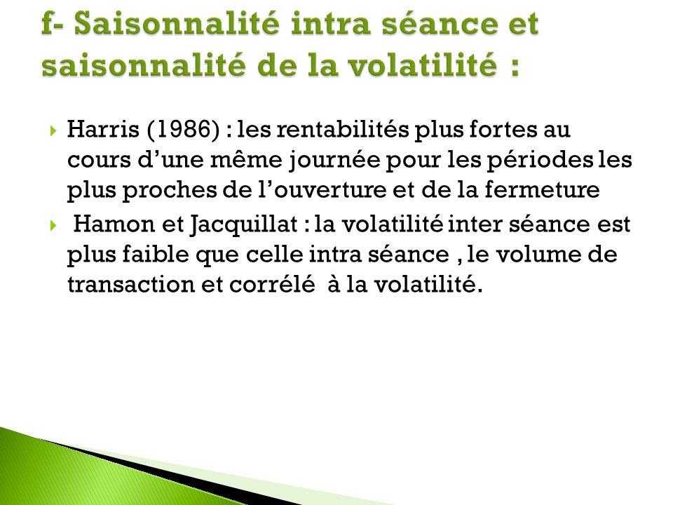 Harris (1986) : les rentabilités plus fortes au cours dune même journée pour les périodes les plus proches de louverture et de la fermeture Hamon et J