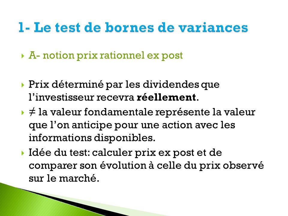 A- notion prix rationnel ex post Prix déterminé par les dividendes que linvestisseur recevra réellement. la valeur fondamentale représente la valeur q