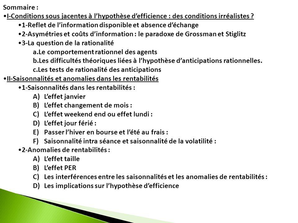 Sommaire : I-Conditions sous jacentes à lhypothèse defficience : des conditions irréalistes ? 1-Reflet de linformation disponible et absence déchange