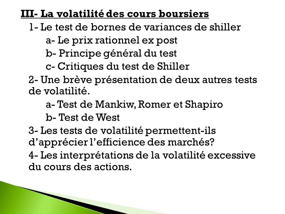 III- La volatilité des cours boursiers 1- Le test de bornes de variances de shiller a- Le prix rationnel ex post b- Principe général du test c- Critiq