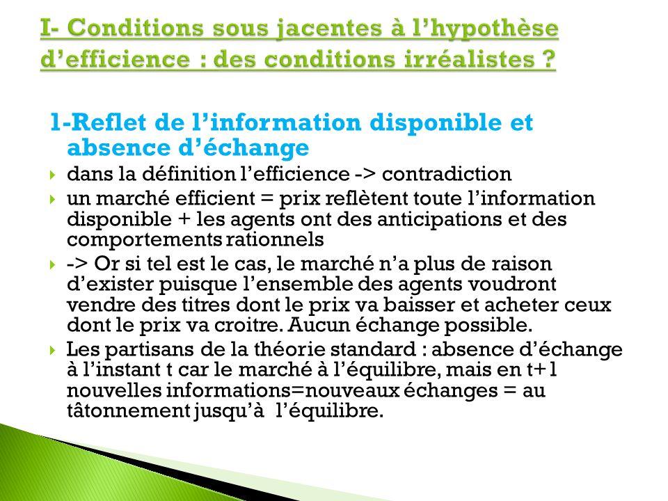 1-Reflet de linformation disponible et absence déchange dans la définition lefficience -> contradiction un marché efficient = prix reflètent toute lin