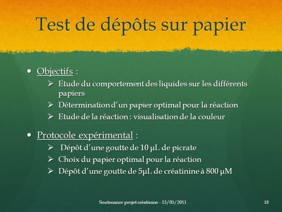 Test de dépôts sur papier Objectifs : Objectifs : Etude du comportement des liquides sur les différents papiers Etude du comportement des liquides sur