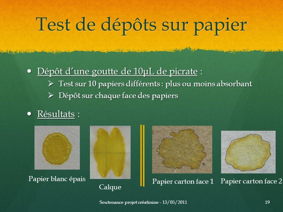 Test de dépôts sur papier Dépôt dune goutte de 10μL de picrate : Dépôt dune goutte de 10μL de picrate : Test sur 10 papiers différents : plus ou moins